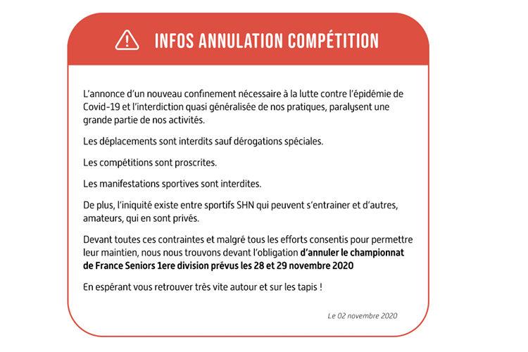 ANNULATION DU CHAMPIONNAT DE FRANCE SENIORS 1ère DIVISION