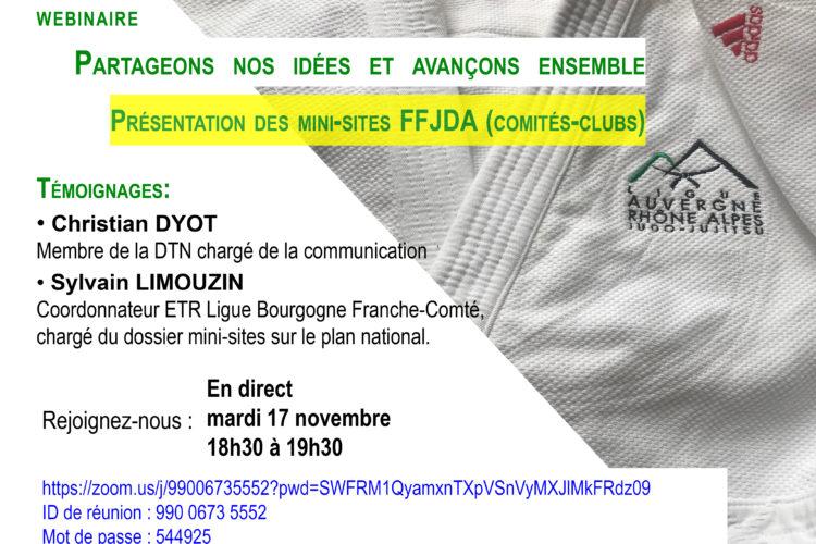 Webinaire du 17 novembre: présentation des mini-sites FFJDA (comités-clubs)