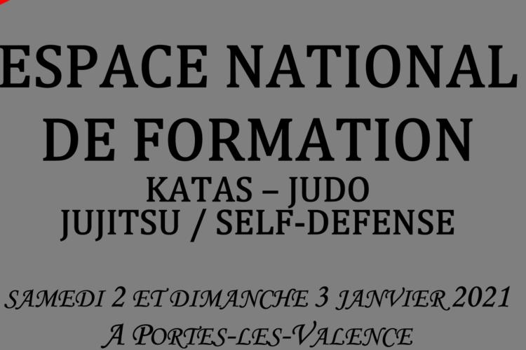 Espace national de formation Judo, Jujitsu, kata:  Portes-Les-Valences 2 et 3 janvier 2021