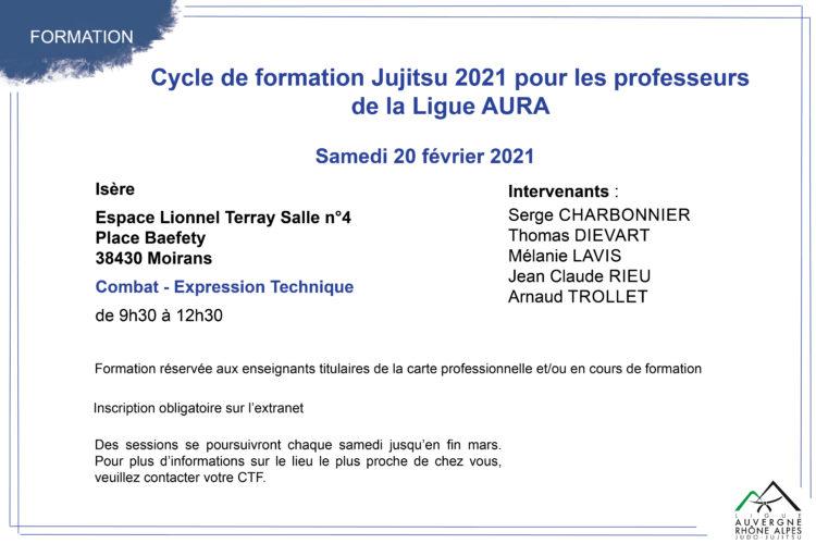 Cycle de formation Jujitsu 2021 pour les professeurs de la Ligue AURA: session du 20 février