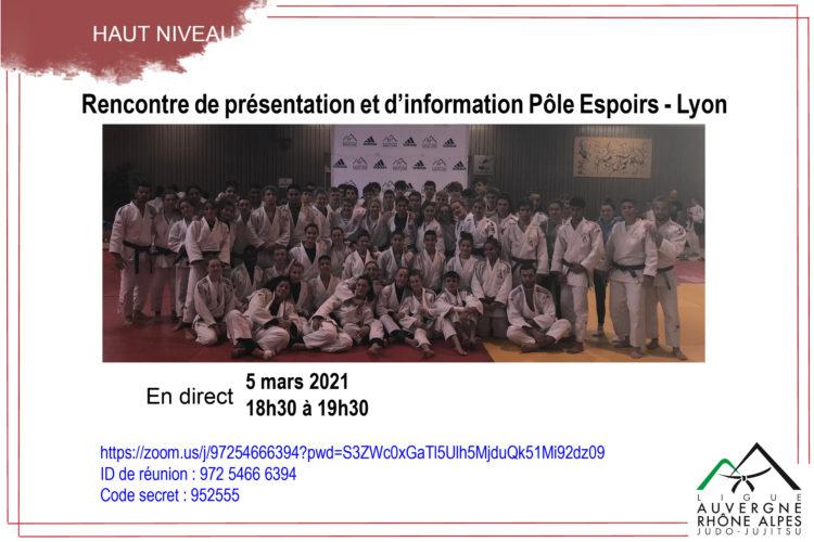 Rencontre de présentation et d'information du Pôle Espoirs Judo-Lyon en visioconférence