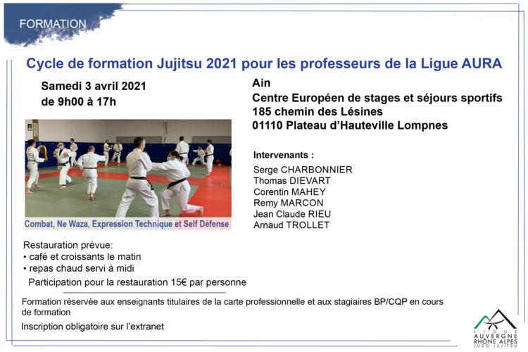 Cycle de formation Jujitsu 2021 pour les professeurs de la Ligue AURA: sessions du 03 avril