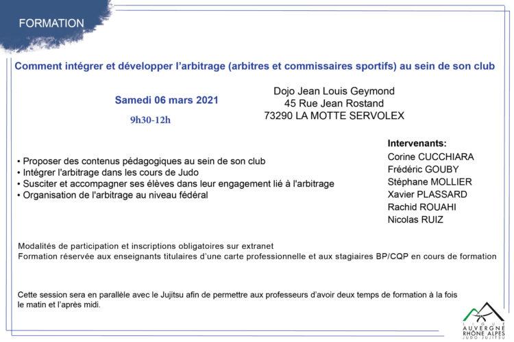 Formation: comment intégrer et développer l'arbitrage (arbitres et commissaires sportifs) au sein de son club ? – Session du 06 mars