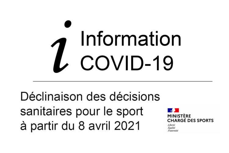 Déclinaison des décisions sanitaires pour le sport à partir du 8 avril 2021