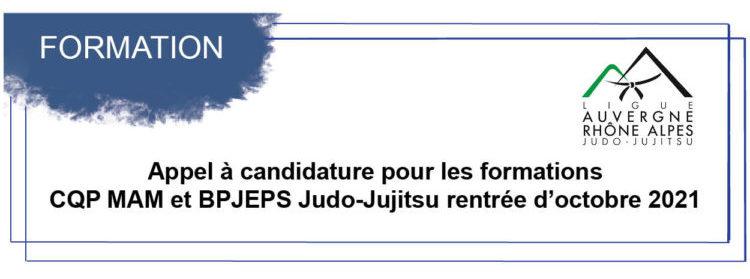 Appel à candidature pour les formations CQP MAM et BPJEPS Judo-Jujitsu pour la rentrée d'octobre 2021- maj 04 mai